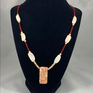 Redline marble pendant w/ shell & cats eye accents